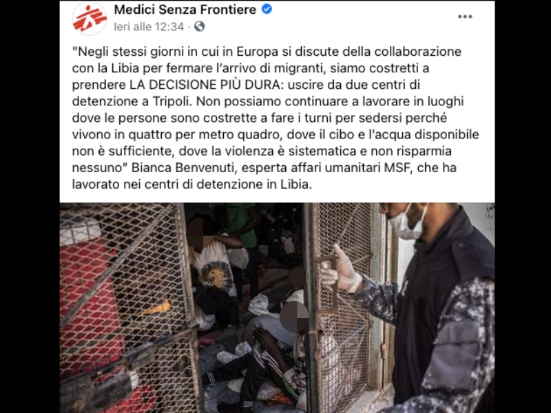 Msf, sospese attività nei centri detenzione in Libia: «Troppe violenze sui rifugiati»